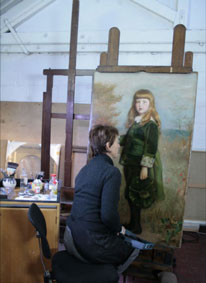 Painting Conservation Studio, detail of restoration of oil painting
